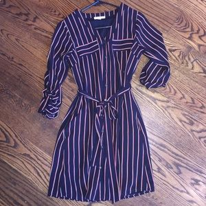 Brown striped dress with pockets