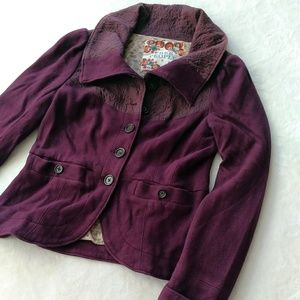 Free People plum pea coat sweater button jacket