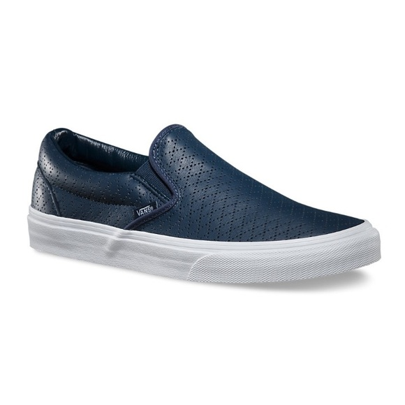2b99925b056 Vans Navy Leather Slip Ons. M 59b5611bbf6df593fb043e14