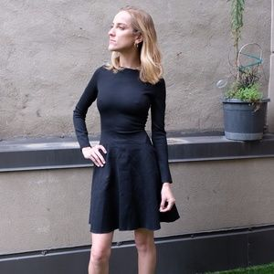 Tome black Stretchy Flared Dress w/ Exposed Zipper