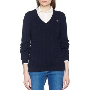 Lacoste black v neck cable knit sweater pullover