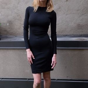 Tome Black Fitted Long Sleeve Dress