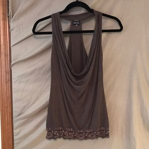 Joyce Leslie Brown Drape Front Top with Lace