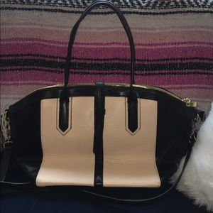 J. Crew two-tone leather top handle bag