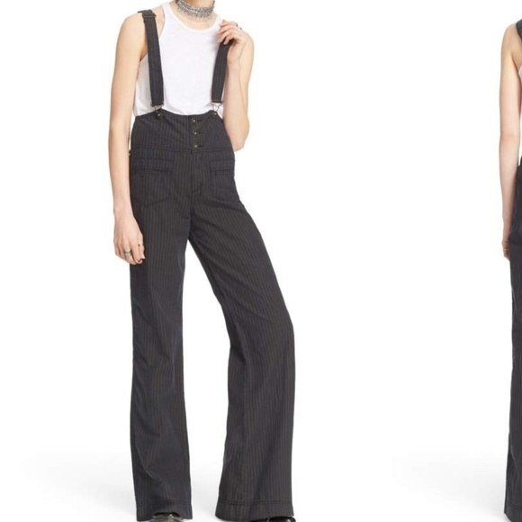 560d98311d8d Free People Pants - Free People Pinstripe Flare Overalls