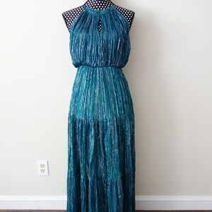 Teal Blue Green Silver Prom Gala Black Tie Gown