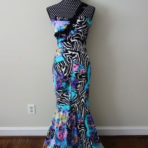 Zebra Floral Unique Wild Prom Gala Mermaid Dress