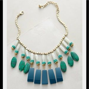 Anthropologie Green Equatorial Fringe Bib Necklace