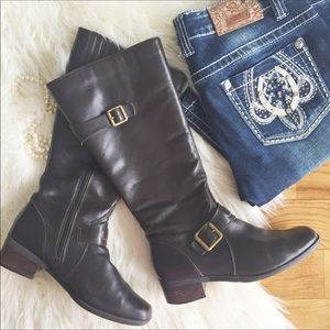 Shoes - Genuine leather brown riding boots