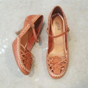 Diba Leather Burnt Orange Mary Jane Heels
