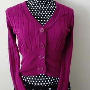 Fuschia Purple Cropped FItted Cardigan