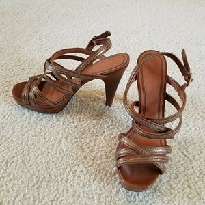 Brown and gold metallic Sandals