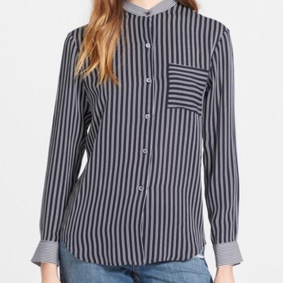 907963bf2677e6 Theory collarless stripe silk shirt. M_59b57f1e7f0a051fc904cbdb
