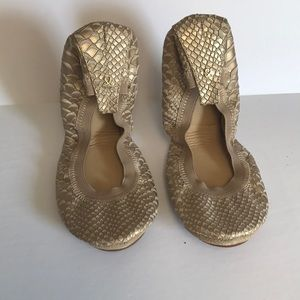 Shoes - NWB Yosi Samra Croc Embossed Gold Fold-up Flat