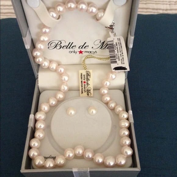 98150c682 Macy's Jewelry   Macys Freshwater Pearl Necklace Earrings Set   Poshmark