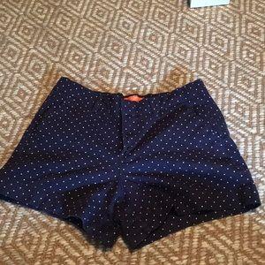 Navy Blue with white polka dot shorts
