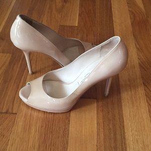 Jimmy Choo Nude Peep Toe Pumps Beige, 4' heels 39
