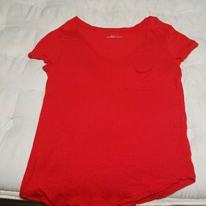 Vibrant red scoop neck pocket T - 14th & union