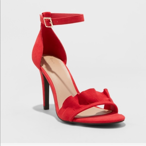 4085b1197 A New Day Shoes | Red Suede Like Ruffled Heels | Poshmark