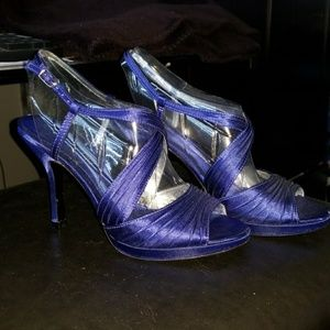 Brand new blue satin shoes