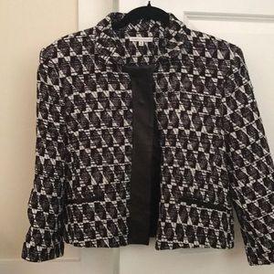 Rebecca Minkoff tweed jacket leather trim