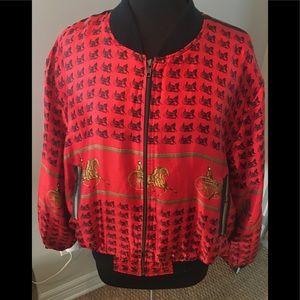 Hermès like silk bomber jacket