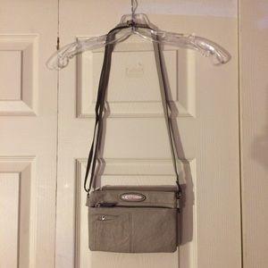 Taupe Rosetti multi-pocket cross-body purse