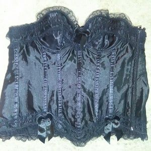 Sexy black with black lace bustier corset