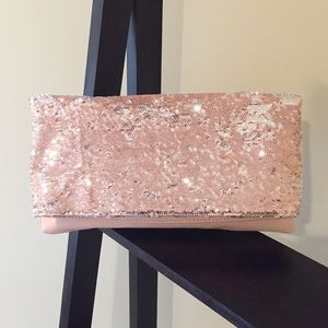 BCBGeneration Pink &Silver Sequin Fold Over Clutch
