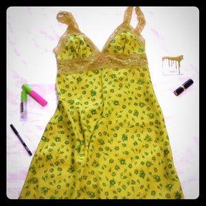 Betsey Johnson chartreuse floral nightie slip
