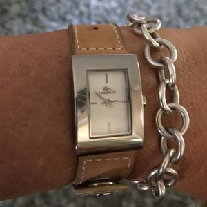 Lacoste leather wrap watch
