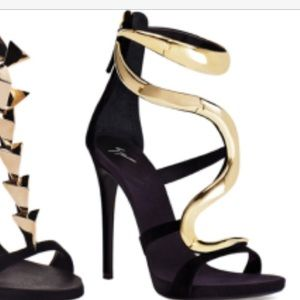 Shoes - Black and gold snake charm heels