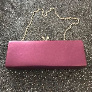 Evening Clutch, grape satin, faux leather w/chain