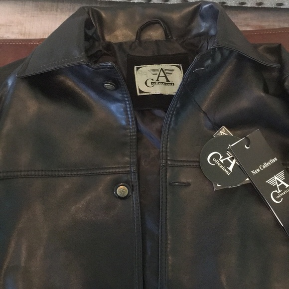d3f10665d Armani Collezioni faux black leather jacket NWT