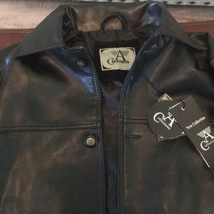 Armani Collezioni faux black leather jacket
