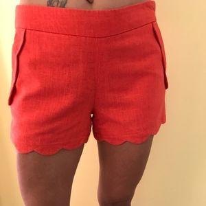 Cynthia Rowley Scalloped Coral Linen Shorts
