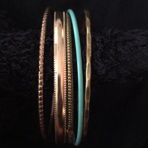 Jewelry - Gold & Turquoise Bangle Set