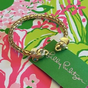 Lilly Pulitzer Gold Elephant Cuff Bangle