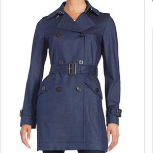 NWT DVF 'Grace' Denim Trench Coat
