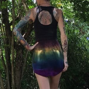 bamboo hand dyed rainbow body on open back dress