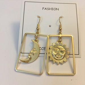 Sun and moon drop earrings