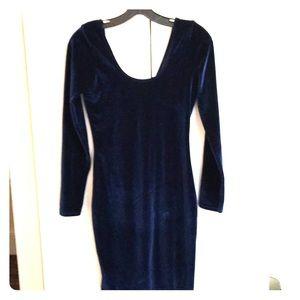 American Apparel navy blue velvet body con dress