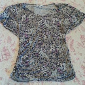 CAbi style 301flutter sleeve floral top
