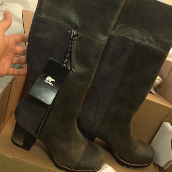 81f9d2eb784 Sorel Addington Tall dark grey black heeled boots