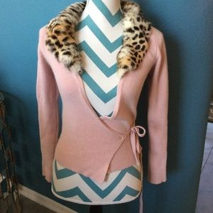 Vintage pink and leopard Wrap Sweater, SZ XS