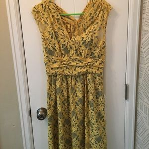 Mustard Yellow and light blue Tracy Reese dress