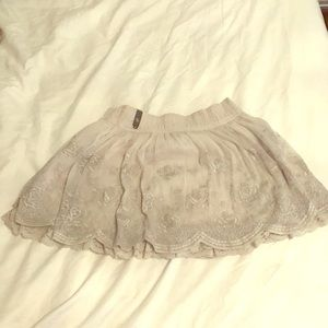 Laced floral skater skirt