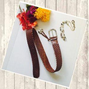 Michael Kors Brown leather breaded belt
