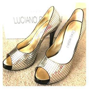 Luciano Padovan peep toe pumps size 38