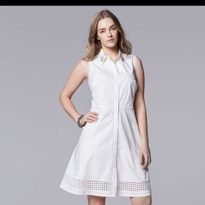 Simply vera white eyelet shirt dress